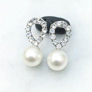 Simple Rhinestone & Sim Pearl Stud Earrings